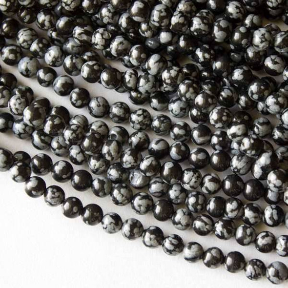 Snowflake Obsidian 4mm Rounds - 16 inch strand