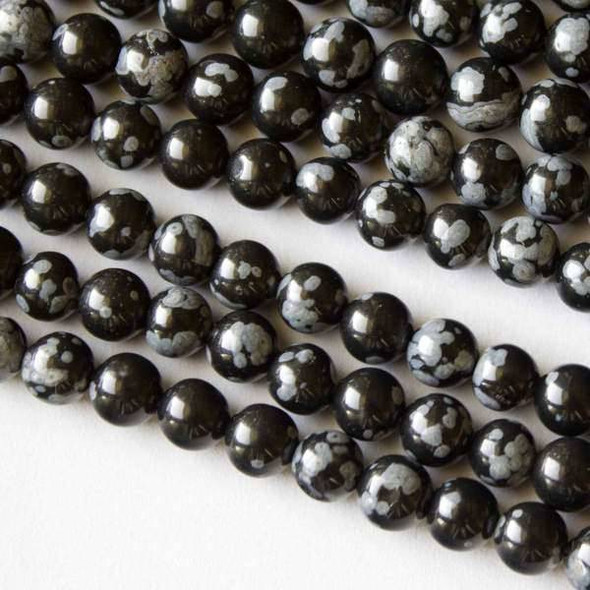 Snowflake Obsidian Grade A 6mm Rounds - 16 inch strand