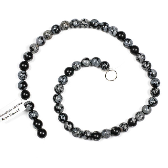 Snowflake Obsidian Grade A 8mm Round Beads - 15 inch strand