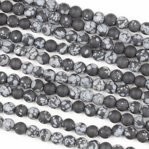 Matte Snowflake Obsidian 6mm Round Beads - 14 inch strand
