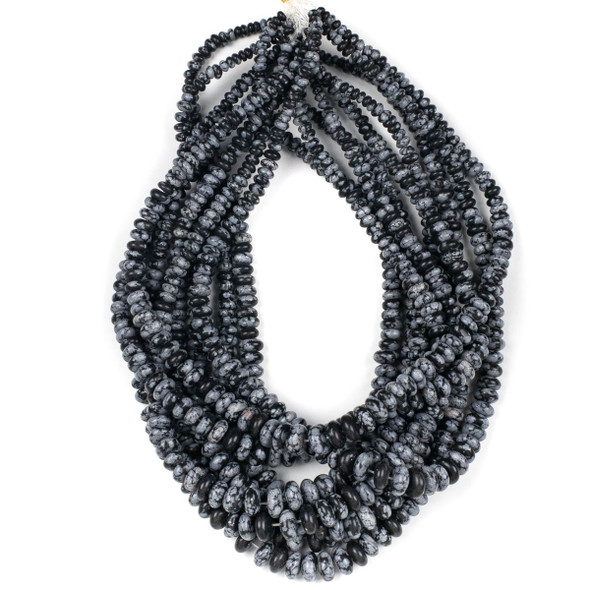 Snowflake Obsidian 4-10mm Graduated Rondelle Beads - 15.5 inch strand