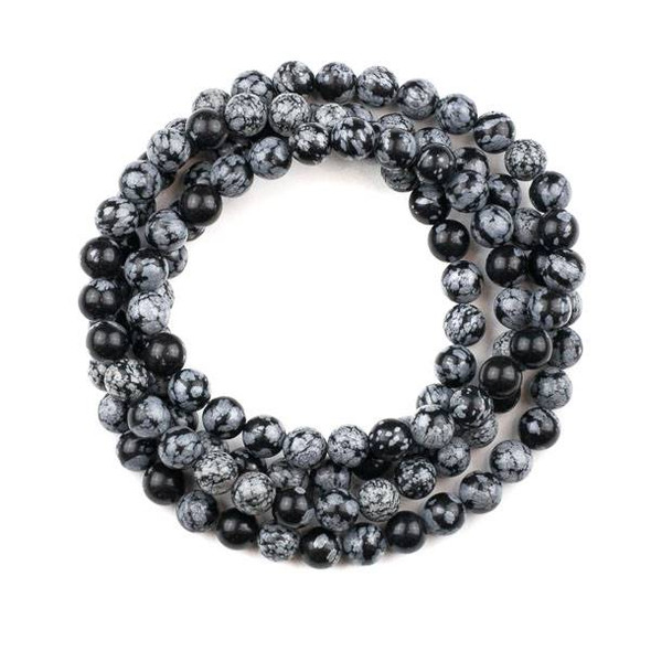 Snowflake Obsidian 8mm Mala Round Beads - 36 inch strand