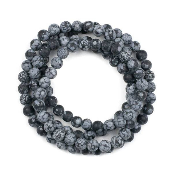 Matte Snowflake Obsidian 8mm Mala Round Beads - 36 inch strand