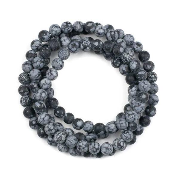 Matte Snowflake Obsidian 8mm Mala Round Beads - 36 inch strand
