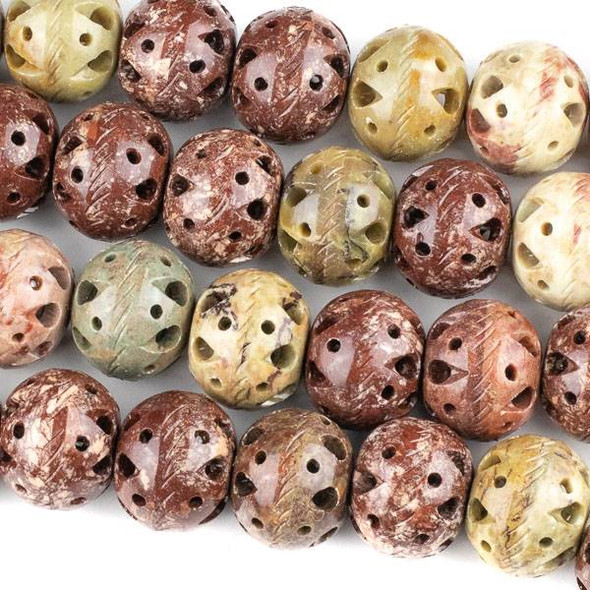 Soapstone 21x26mm Carved Hollow Beads with Scored Sides and approximately 2.5mm Large Hole - approx. 8 inch strand
