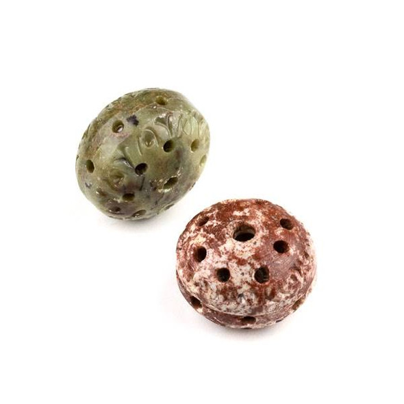 Soapstone 19x28mm Carved Hollow Rondelle Saucer Bead with approximately 2.5mm Large Hole - 1 per bag