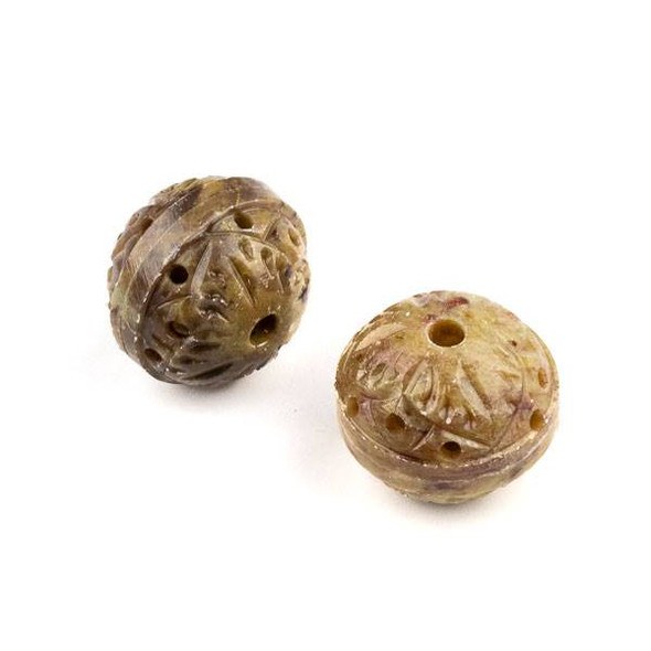 Soapstone 20x27mm Carved Hollow Rondelle Bead with Leaves and approximately 2.5mm Large Hole - 1 per bag