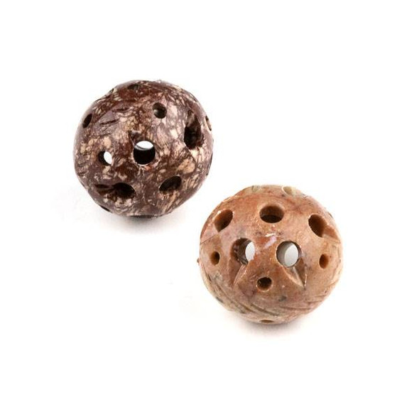 Soapstone 21x26mm Carved Hollow Bead with Scored Sides and approximately 2.5mm Large Hole - 1 per bag