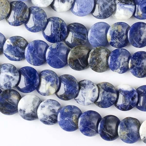 Sodalite 12mm Overlapping Coin/Lentil Beads - 16 inch strand