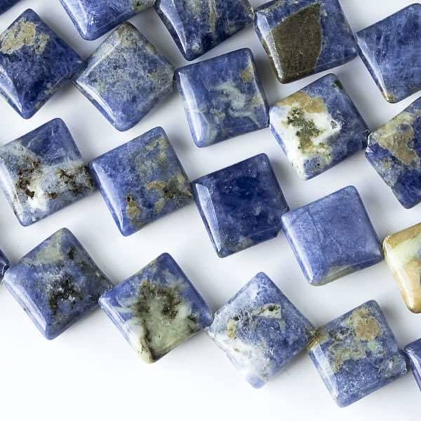 Sodalite 10mm Diagonal Drilled Square Beads - approx. 8 inch strand, Set A