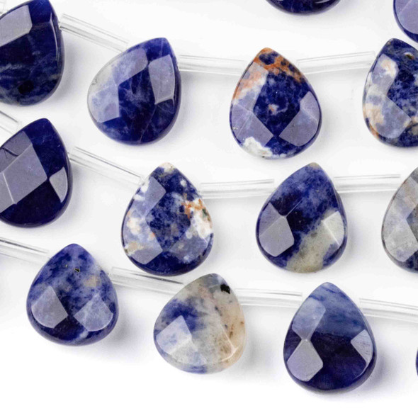 Sodalite Faceted 12x15mm Top Drilled Teardrop Beads - approx. 8 inch strand, Set B