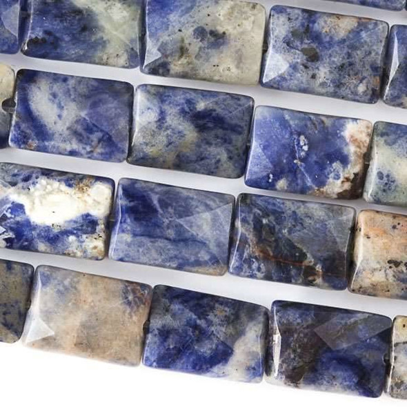 Sodalite Faceted 10x14mm Rectangle Beads - approx. 8 inch strand, Set B