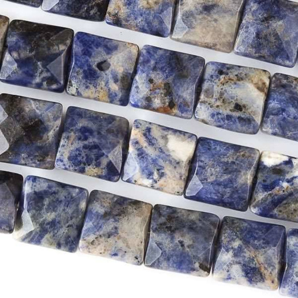 Sodalite Faceted 10mm Square Beads - approx. 8 inch strand, Set B