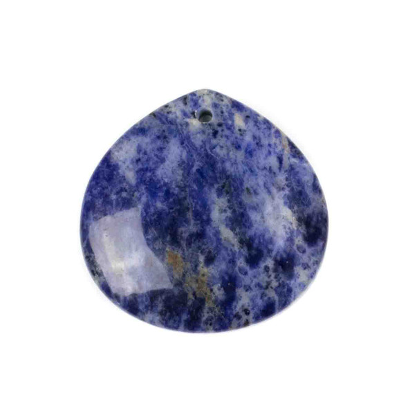 Sodalite 40mm Top Front to Back Drilled Almond Pendant with a Flat Back - 1 per bag