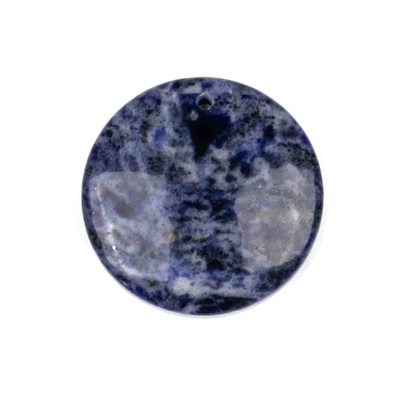 Sodalite 40mm Top Front to Back Drilled Coin Pendant with a Flat Back - 1 per bag