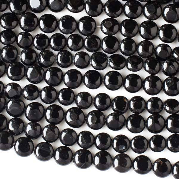 Special Black Agate 8-9mm Coin Beads - 16 inch strand