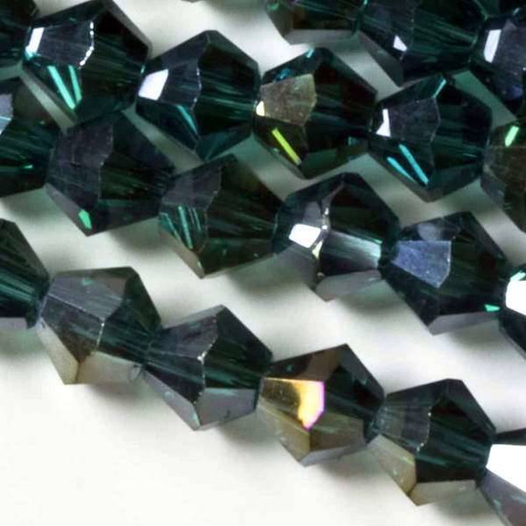 Crystal 6mm Emerald Bicones with an AB finish - 8 Inch Strand