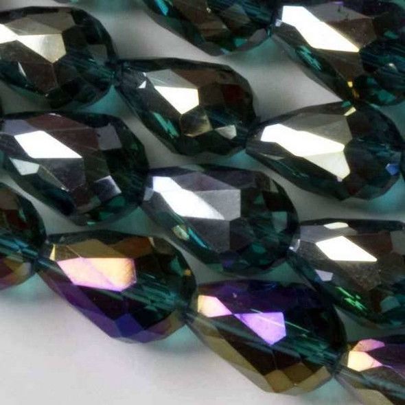 Glass Crystal 8x11mm Emerald Rounded Teardrops with an AB finish