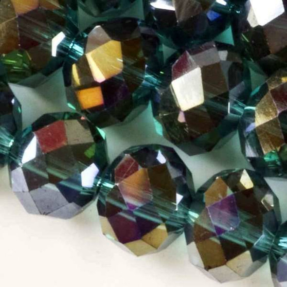 Crystal Faceted 8x12mm Emerald Rondelle Beads with an AB finish