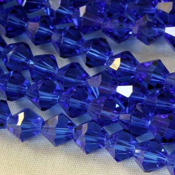Crystal 6mm Cobalt Bicone - 8 Inch Strand