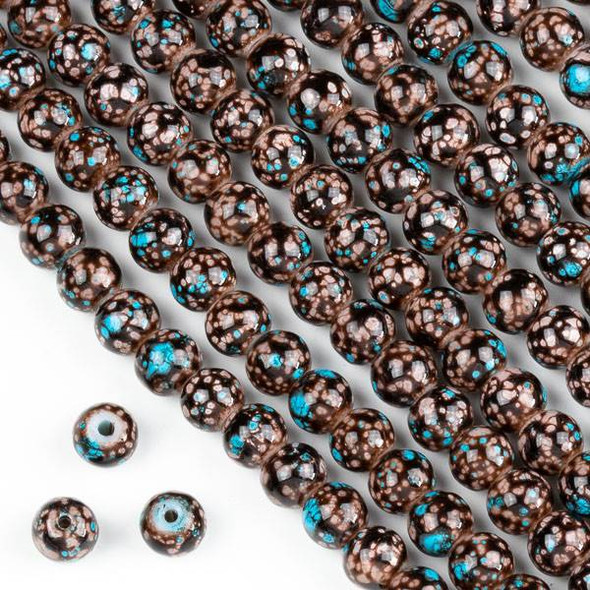 Speckled Glass 6mm Brown and Turquoise Blue Round Beads - 16 inch strand