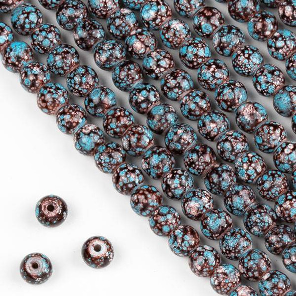 Speckled Glass 6mm Brown, Tan, and Turquoise Blue Round Beads - 16 inch strand