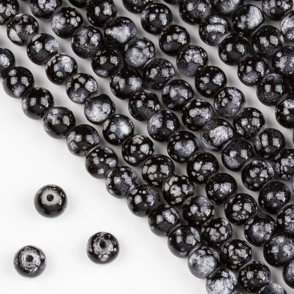 Speckled Glass 6mm Black and Grey Round Beads - 16 inch strand