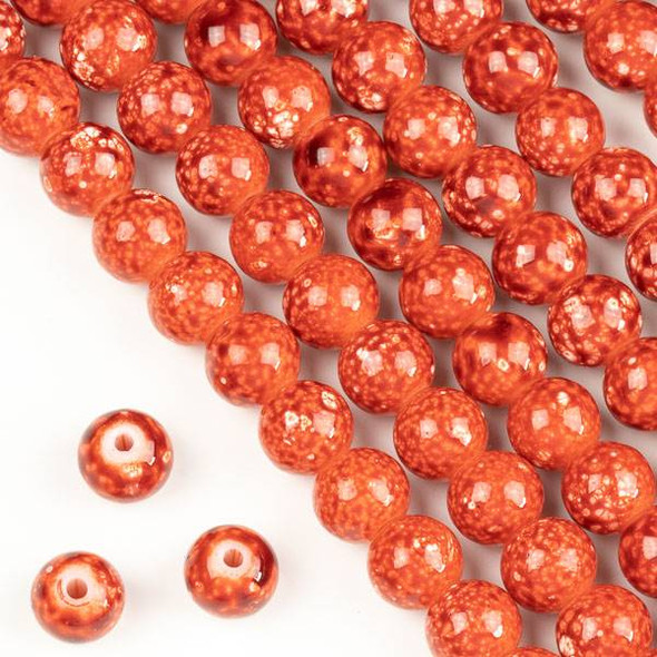 Speckled Glass 8mm Orange Round Beads - 16 inch strand