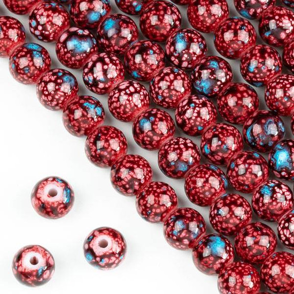 Speckled Glass 8mm Red and Blue Round Beads - 16 inch strand