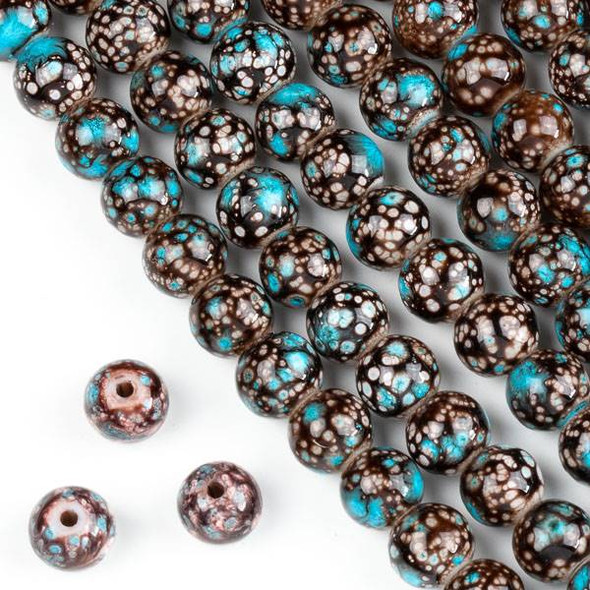 Speckled Glass 8mm Brown and Turquoise Blue Round Beads - 16 inch strand