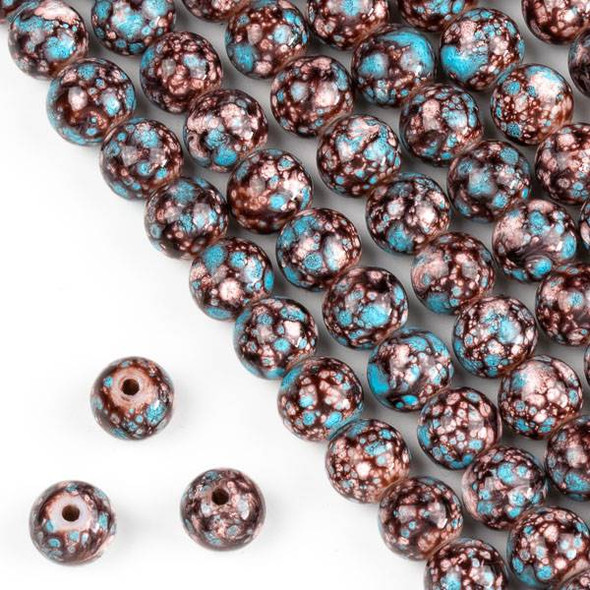 Speckled Glass 8mm Brown, Tan, and Turquoise Blue Round Beads - 16 inch strand