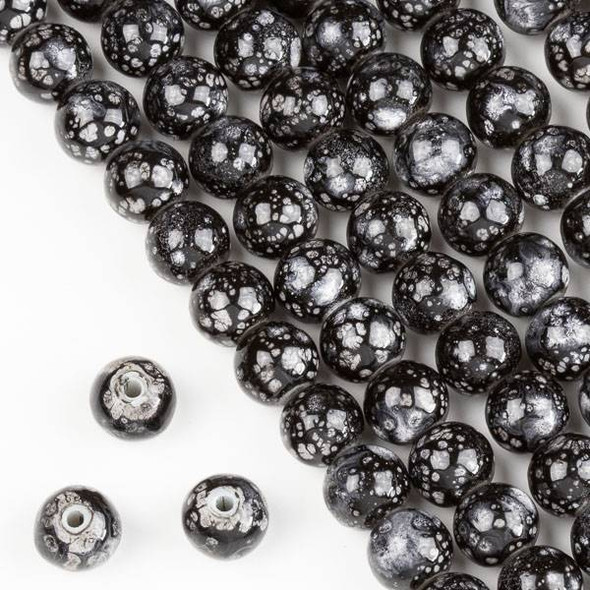 Speckled Glass 8mm Black and Grey Round Beads - 16 inch strand