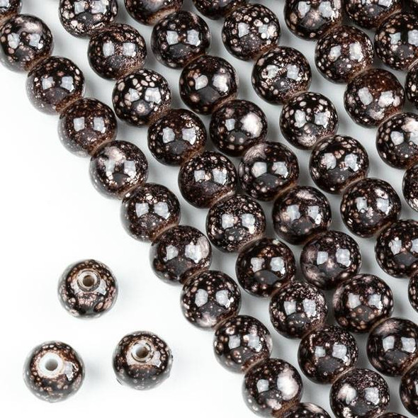 Speckled Glass 8mm Brown and Tan Round Beads - 16 inch strand
