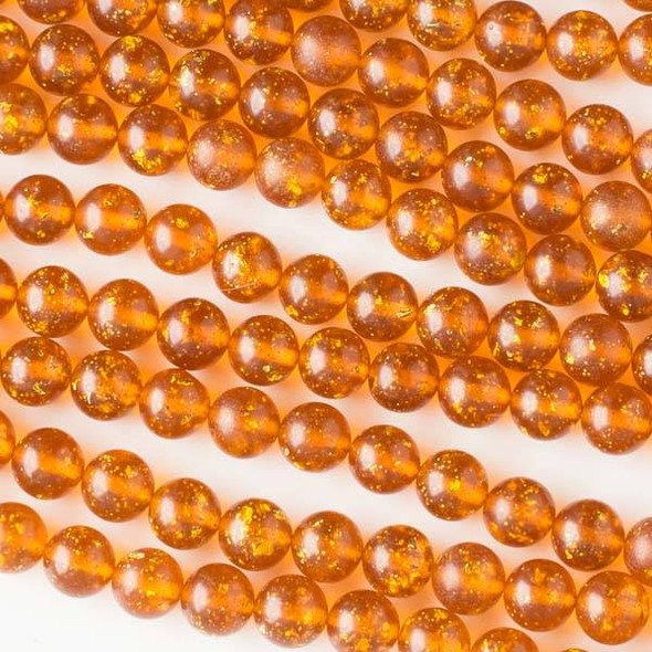 Special Acrylic Imitation Amber with Gold Glitter 8mm Round Beads - 16 inch strand