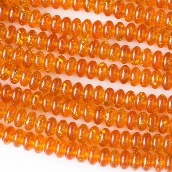 Special Acrylic Imitation Amber with Gold Glitter 4x8mm Rondelle Beads - 16 inch strand