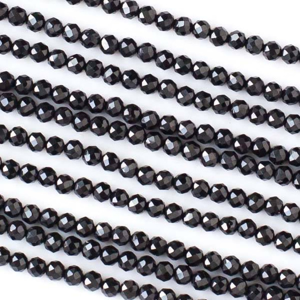 Black Spinel 2mm Faceted Round Beads - 13 inch strand
