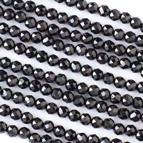 Black Spinel 3mm Faceted Round Beads - 13 inch strand