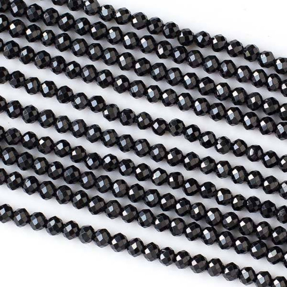 Black Spinel 4mm Faceted Round Beads - 15 inch strand