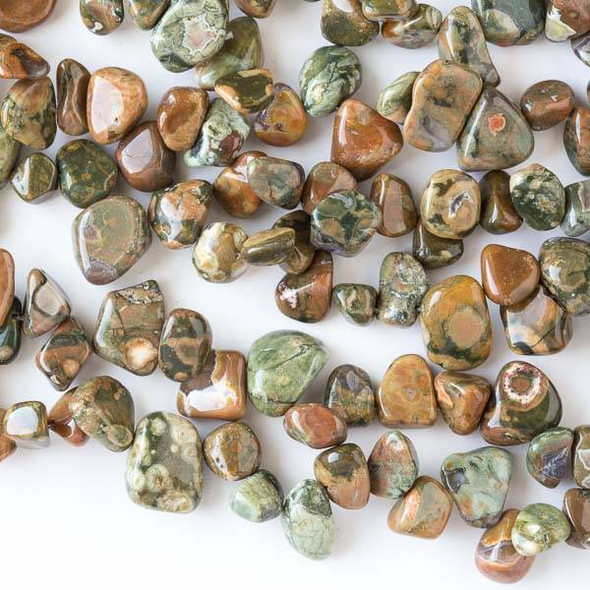 Special Rhyolite 6x10-10x14mm Irregular Top Drilled Nugget Beads - 16 inch strand