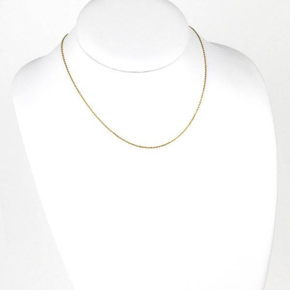 Gold Stainless Steel 1mm Small Flat Cable Chain Necklace - 16 inch, SS01g-16