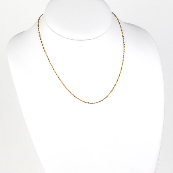 Gold Stainless Steel 1mm Small Flat Cable Chain Necklace - 18 inch, SS01g-18