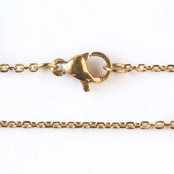 Gold Stainless Steel 1mm Small Flat Cable Chain Necklace - 20 inch, SS01g-20