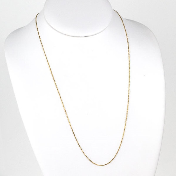 Gold Stainless Steel 1mm Small Flat Cable Chain Necklace - 24 inch, SS01g-24