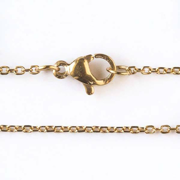Gold Stainless Steel 1mm Small Flat Cable Chain Necklace - 32 inch, SS01g-32