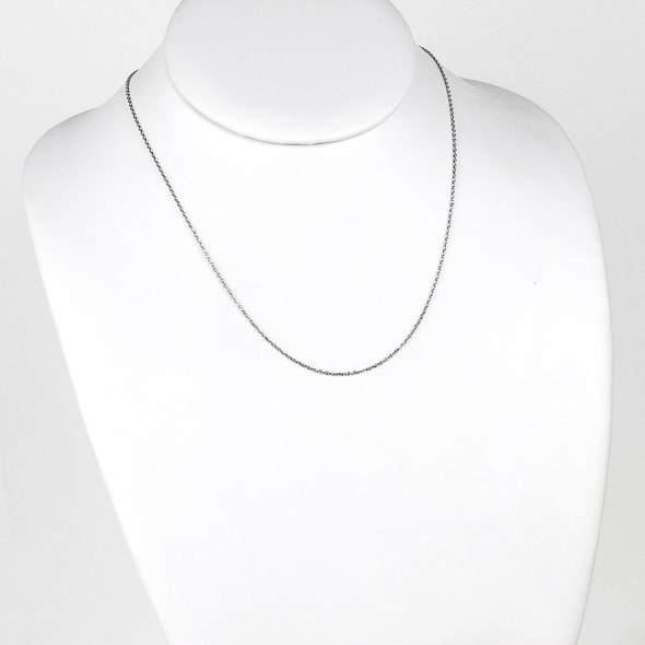Silver Stainless Steel 1mm Small Flat Cable Chain Necklace - 18 inch, SS01s-18