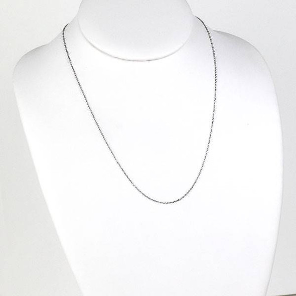 Silver Stainless Steel 1mm Small Flat Cable Chain Necklace - 20 inch, SS01s-20
