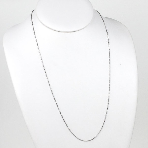 Silver Stainless Steel 1mm Small Flat Cable Chain Necklace - 24 inch, SS01s-24