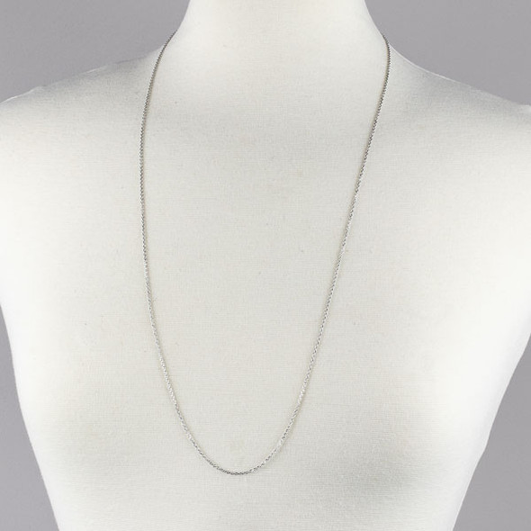 Silver Stainless Steel 1mm Small Flat Cable Chain Necklace - 32 inch, SS01s-32