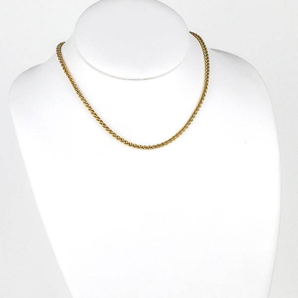 Gold Stainless Steel 3mm Spiga/Wheat Chain Necklace - 16 inch, SS02g-16