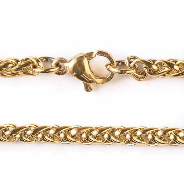 Gold Stainless Steel 3mm Spiga/Wheat Chain Necklace - 24 inch, SS02g-24